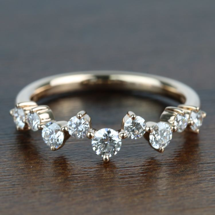 Asymmetric Chevron Diamond Wedding Ring in Rose Gold by Parade   02