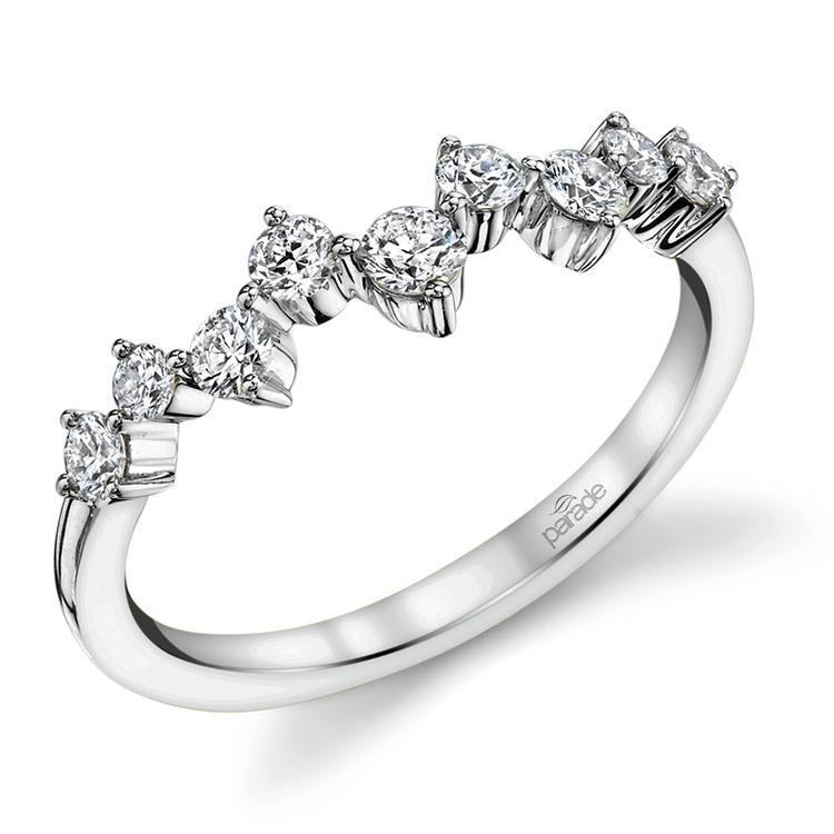 Asymmetric Chevron Diamond Wedding Ring in White Gold by Parade | 01