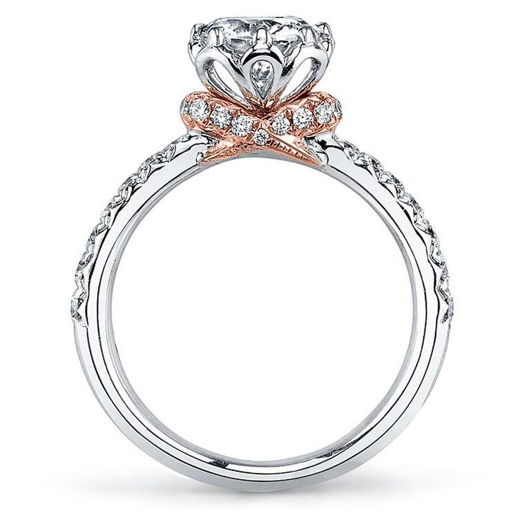 Blooming Rose Diamond Engagement Ring In White and Rose Gold By Parade | 02