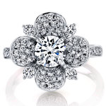 Blossoming Flower Diamond Engagement Ring in Platinum by Parade | Thumbnail 02
