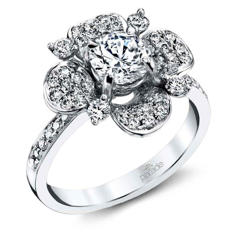 Blossoming Flower Diamond Engagement Ring in Platinum by Parade | 01