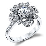 Blossoming Flower Diamond Engagement Ring in White Gold by Parade | Thumbnail 01