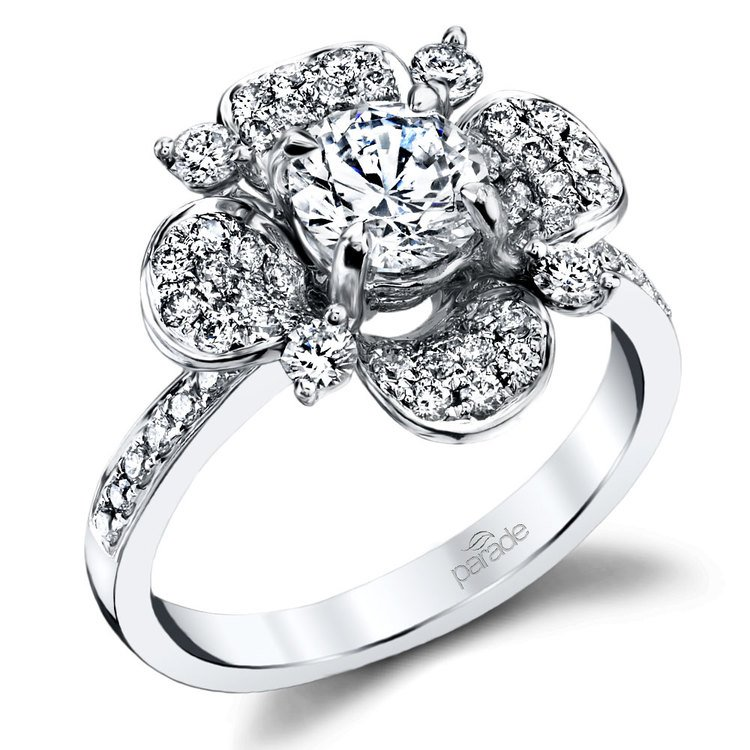 Blossoming Flower Diamond Engagement Ring in White Gold by Parade | 01
