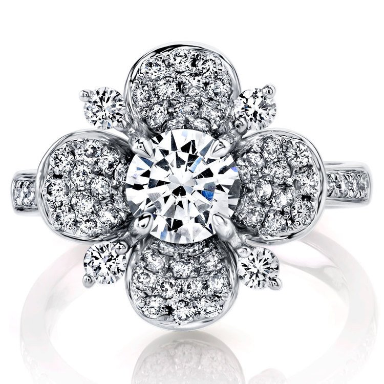 Blossoming Flower Diamond Engagement Ring in White Gold by Parade | 02