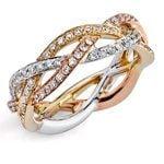 Braided Tri-Tone Gold Diamond Eternity Ring by Parade | Thumbnail 01