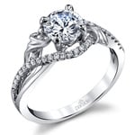 Brushed Flourish Split Shank Diamond Engagement Ring in White Gold by Parade | Thumbnail 01