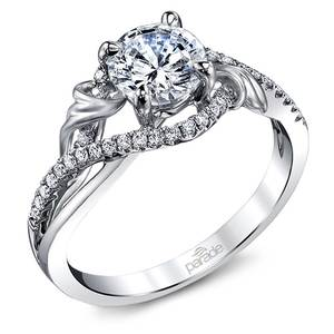 Brushed Flourish Split Shank Diamond Engagement Ring in White Gold by Parade