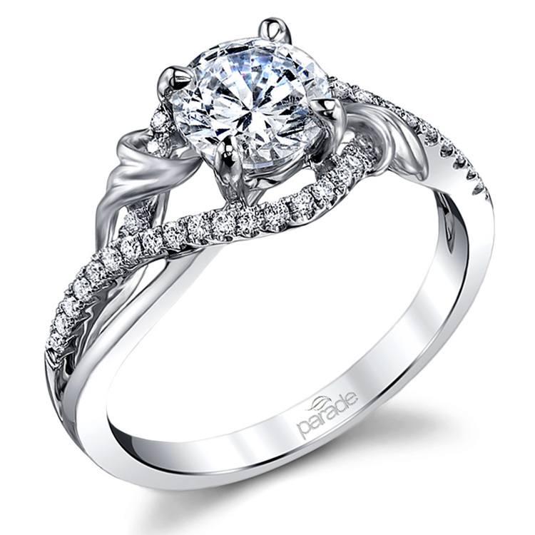 Brushed Flourish Split Shank Diamond Engagement Ring in White Gold by Parade | 01