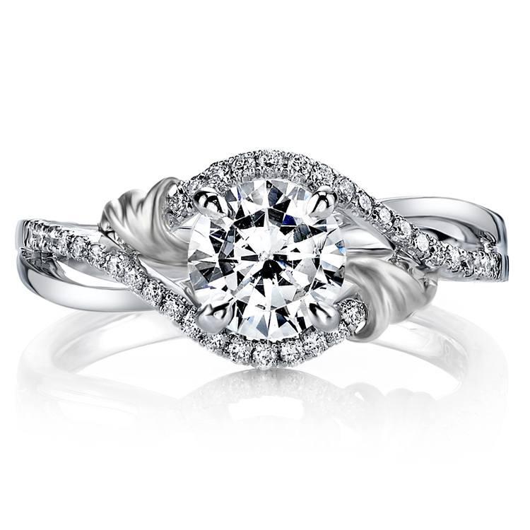 Brushed Flourish Split Shank Diamond Engagement Ring in White Gold by Parade | 02