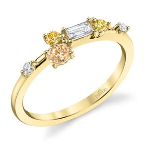 Budding Rose Fancy Colored Diamond Ring in Yellow Gold by Parade
