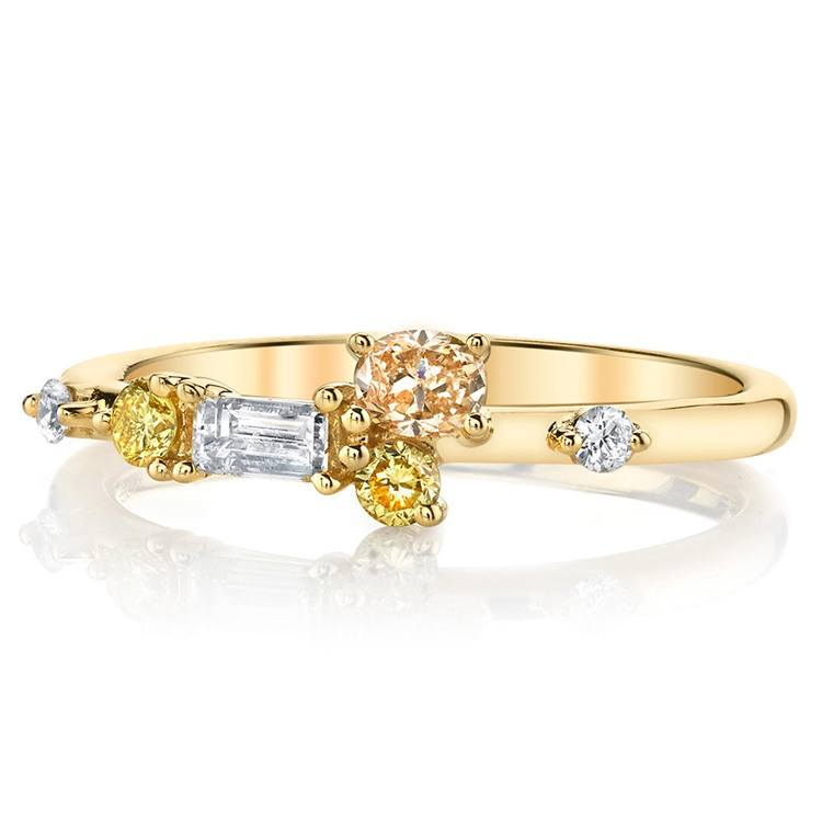 Budding Rose Fancy Colored Diamond Ring in Yellow Gold by Parade | 02