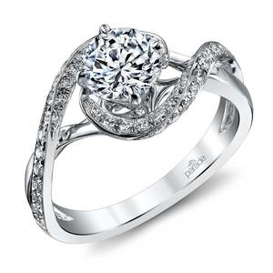 Bypass Style Encrusted Diamond Engagement Ring in White Gold by Parade