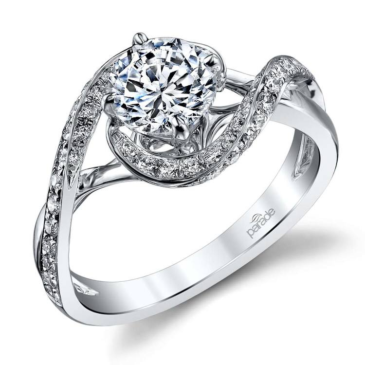 Bypass Style Encrusted Diamond Engagement Ring in White Gold by Parade | 01