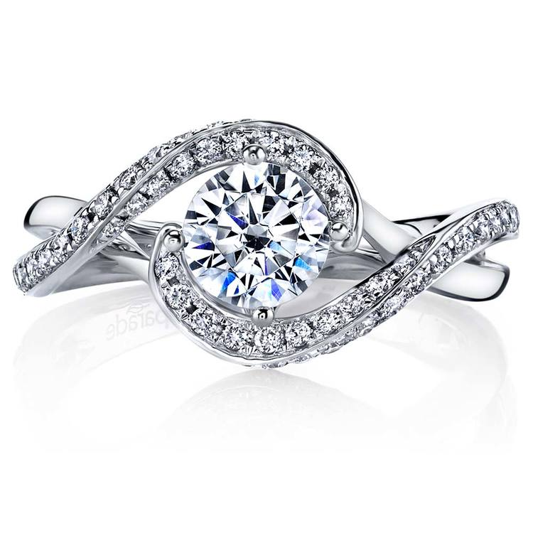 Bypass Style Encrusted Diamond Engagement Ring in White Gold by Parade | 02