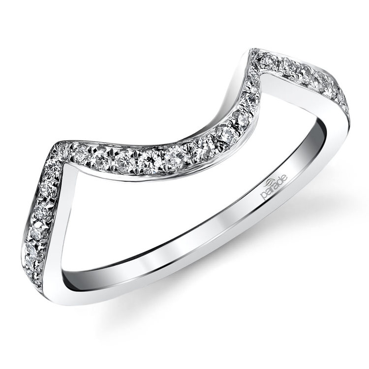 Bypass Style Matching Diamond Wedding Ring in White Gold by Parade | 01