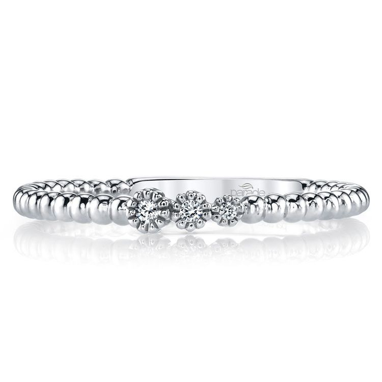 Charities Beaded Diamond Wedding Ring in White Gold by Parade | 01