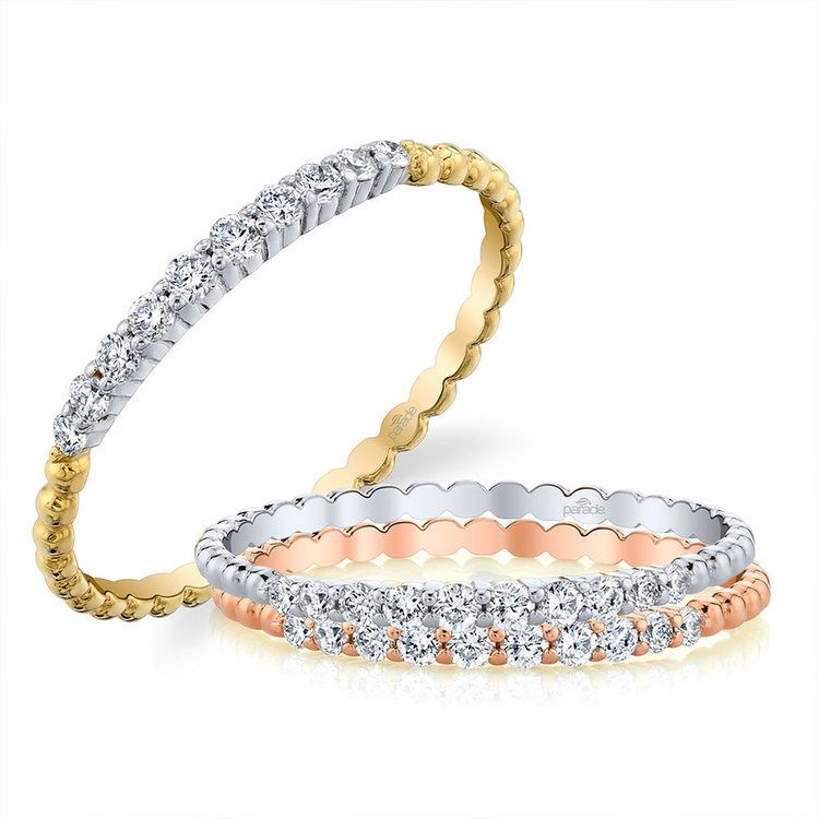 Charites Diamond Wedding Ring in White and Yellow Gold by Parade | 03