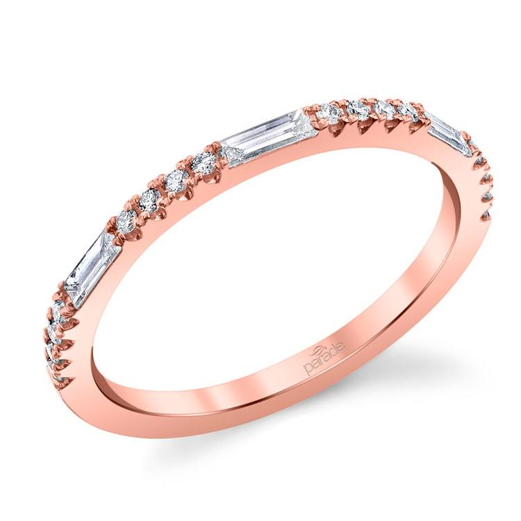 Charities Gleaming Baguette Diamond Wedding Ring in Rose Gold by Parade | 01