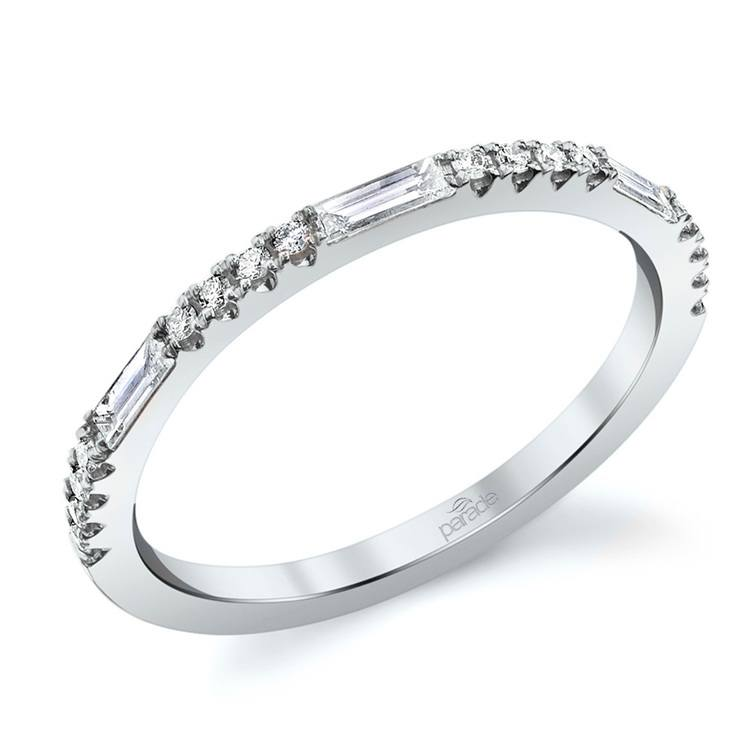 Charities Gleaming Baguette Diamond Wedding Ring in White Gold by Parade | 01