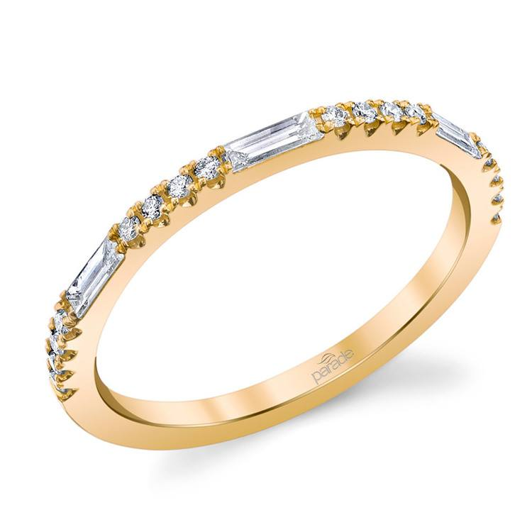 Charities Gleaming Baguette Diamond Wedding Ring in Yellow Gold by Parade | 01