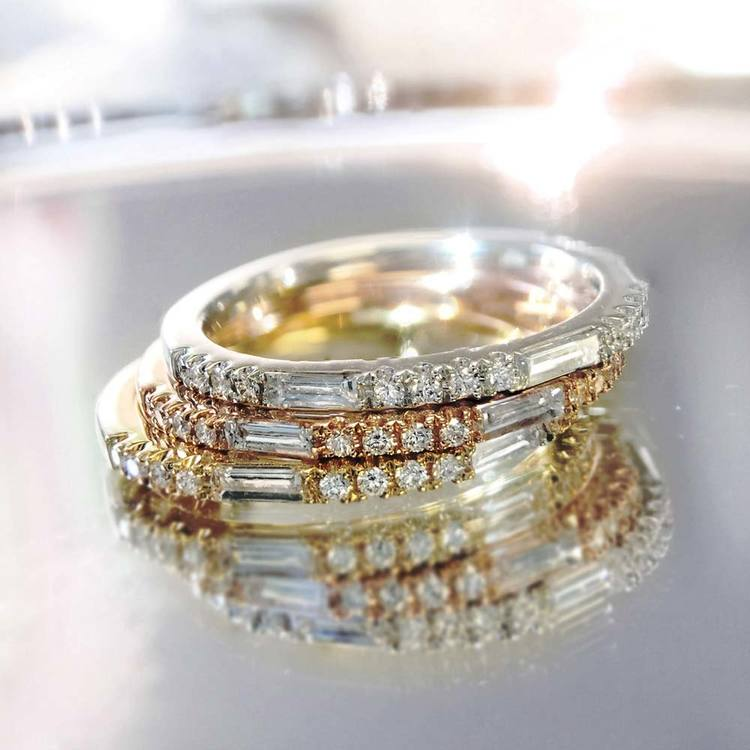 Charities Gleaming Baguette Diamond Wedding Ring in Yellow Gold by Parade | 02