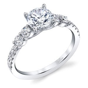 Classic Bridal Five Stone Diamond Ring in White Gold by Parade