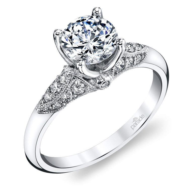 Classic Hera Milgrain Cathedral Diamond Engagement Ring In White Gold By Parade | 01