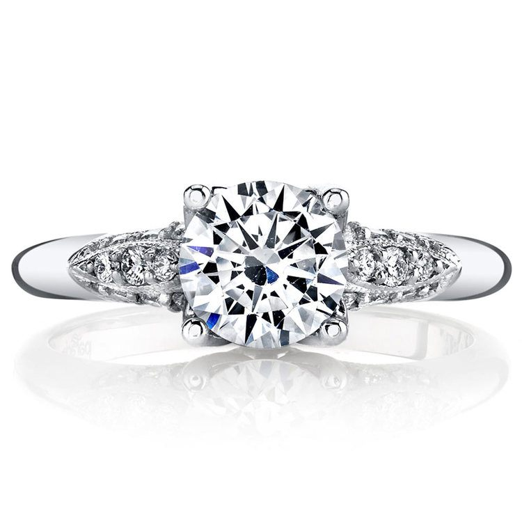Classic Hera Milgrain Cathedral Diamond Engagement Ring In White Gold By Parade | 02