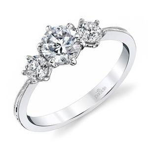 Classic Milgrain Three Stone Diamond Engagement Ring in White Gold by Parade