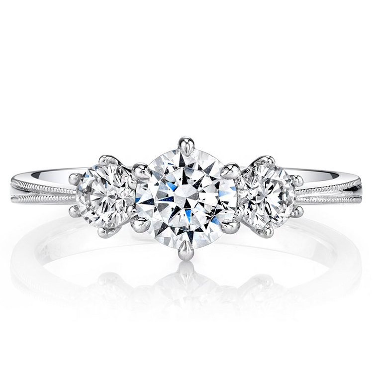 Classic Milgrain Three Stone Diamond Engagement Ring in White Gold by Parade | 02