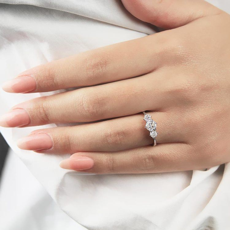 Classic Milgrain Three Stone Diamond Engagement Ring in White Gold by Parade   03