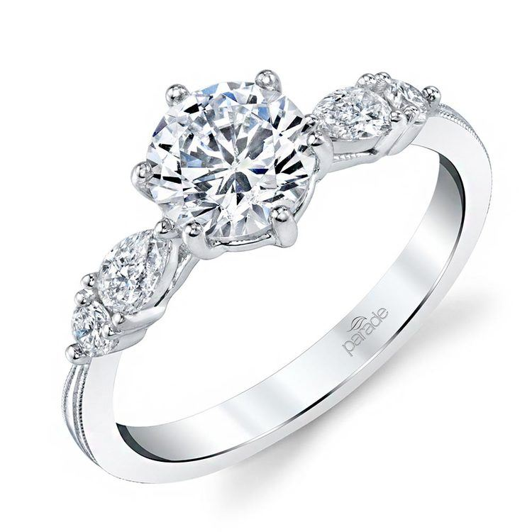 Classic Vintage Five Stone Pear Engagement Ring In White Gold By Parade | 01