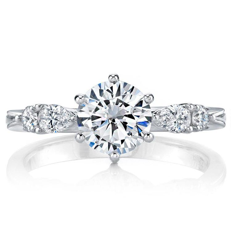 Classic Vintage Five Stone Pear Engagement Ring In White Gold By Parade | 02