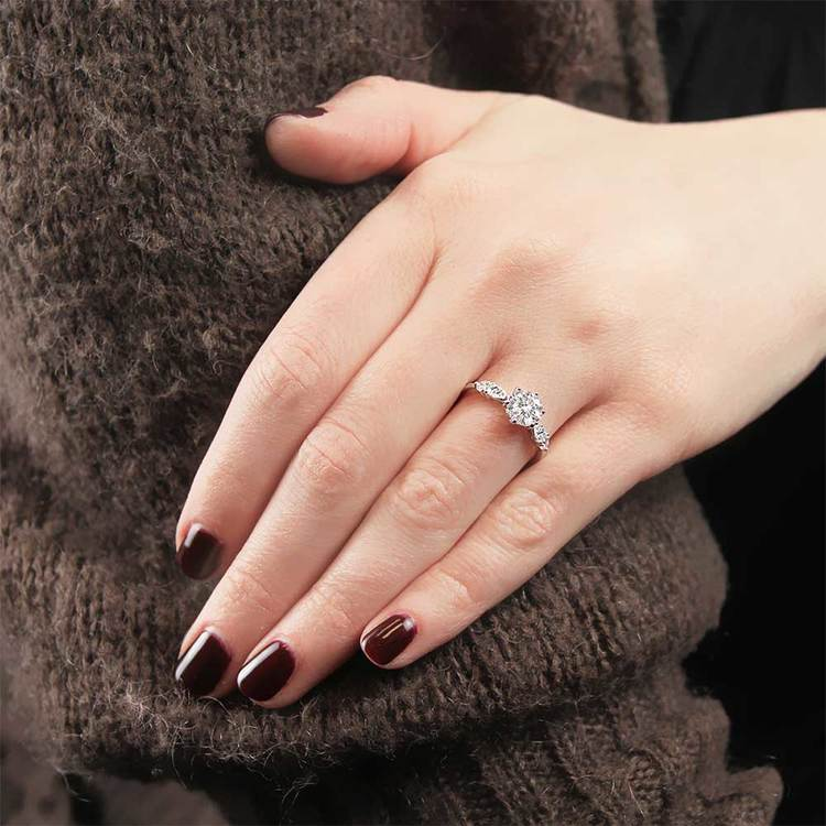 Classic Vintage Five Stone Pear Engagement Ring In White Gold By Parade | 03