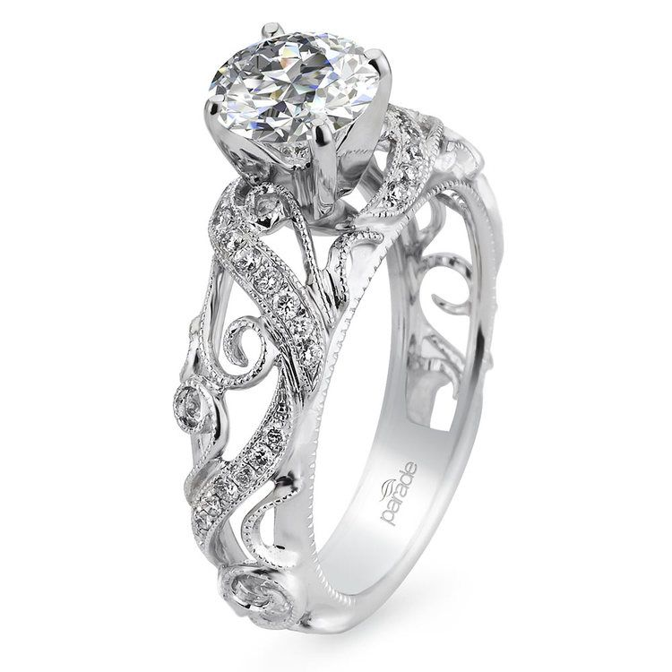 Climbing Milgrain Diamond Engagement Ring in White Gold by Parade | 01