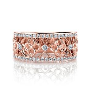 Clover Lattice Diamond Ring in Rose Gold by Parade