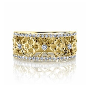 Clover Lattice Diamond Ring in Yellow Gold by Parade