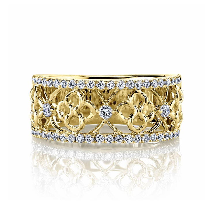 Clover Lattice Diamond Ring in Yellow Gold by Parade | 01