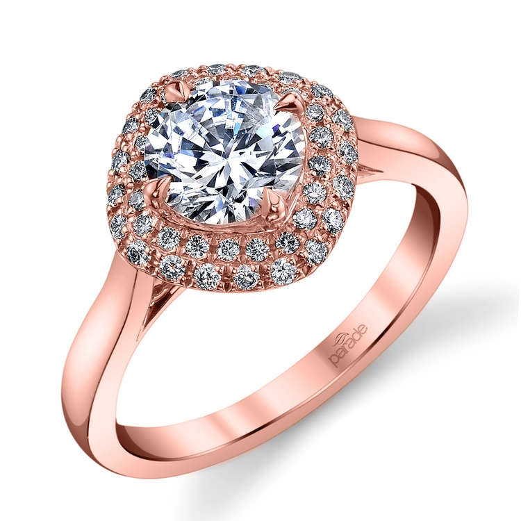 Contemporary Double Halo Diamond Engagement Ring in Rose Gold by Parade | 01