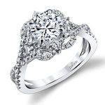 Delicate Double Halo Diamond Engagement Ring in White Gold by Parade | Thumbnail 01