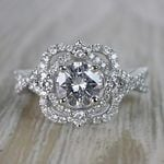 Delicate Double Halo Diamond Engagement Ring in White Gold by Parade | Thumbnail 04