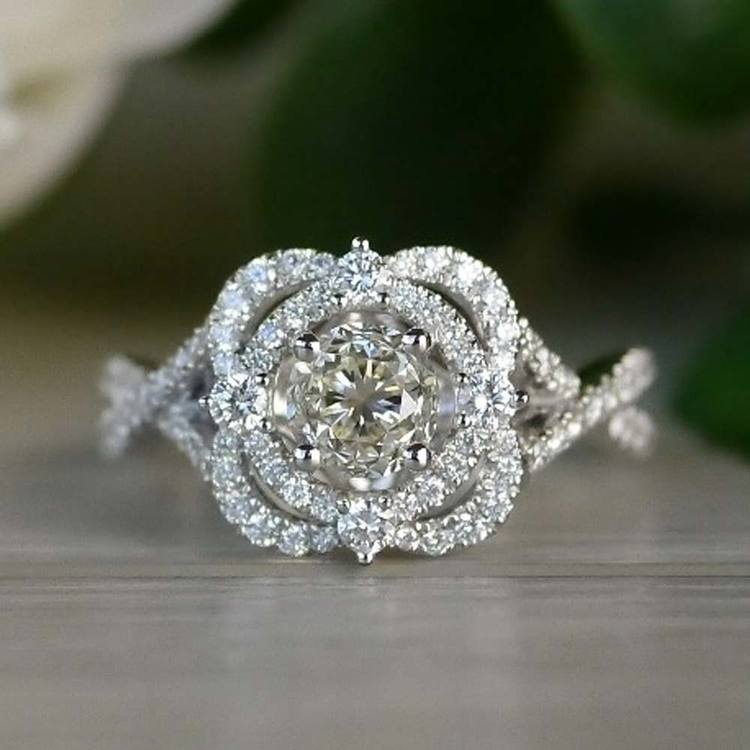 Delicate Double Halo Diamond Engagement Ring in White Gold by Parade | 02