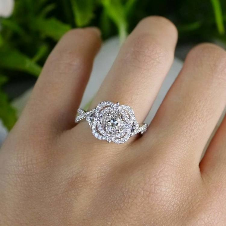 Delicate Double Halo Diamond Engagement Ring in White Gold by Parade | 03