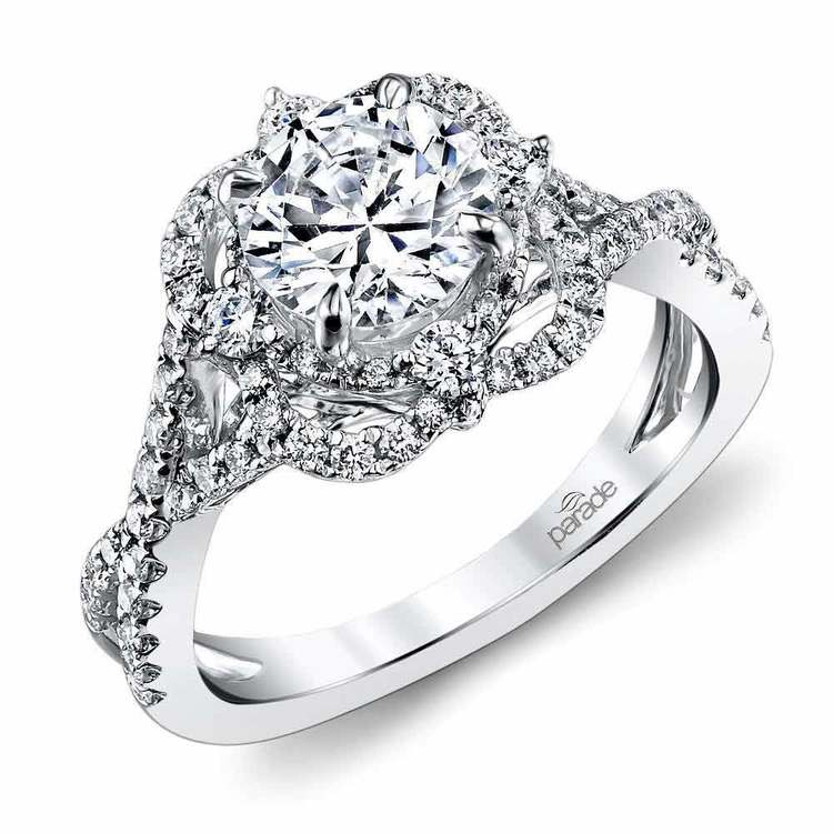 Delicate Double Halo Diamond Engagement Ring in White Gold by Parade | 01