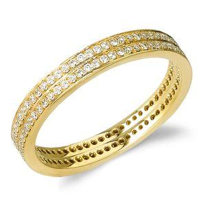 Delicate Pave Diamond Eternity Ring Set in Yellow Gold by Parade