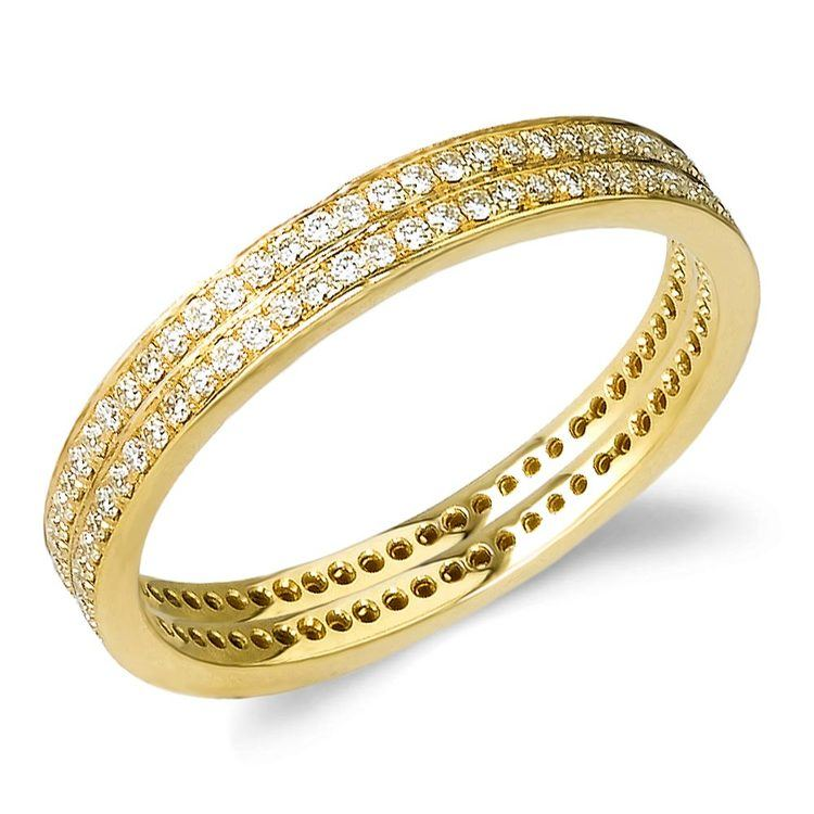 Delicate Pave Diamond Eternity Ring Set in Yellow Gold by Parade | 01