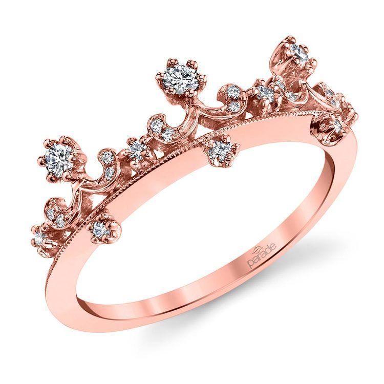 Enchanted Tiara Crown Diamond Wedding Ring in Rose Gold by Parade   01