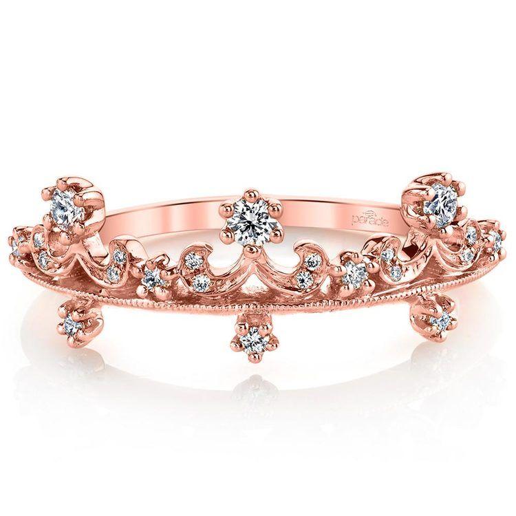 Enchanted Tiara Crown Diamond Wedding Ring in Rose Gold by Parade   02