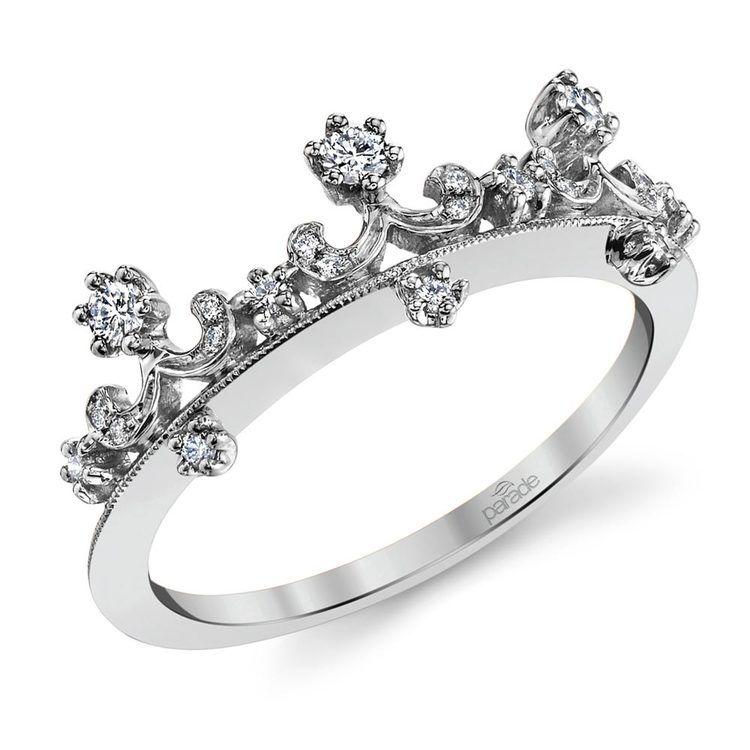 Enchanted Tiara Crown Diamond Wedding Ring in White Gold by Parade | 01