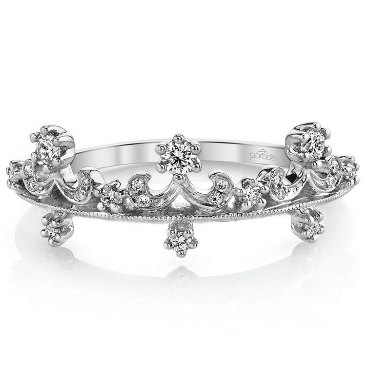 Enchanted Tiara Crown Diamond Wedding Ring in White Gold by Parade | 02